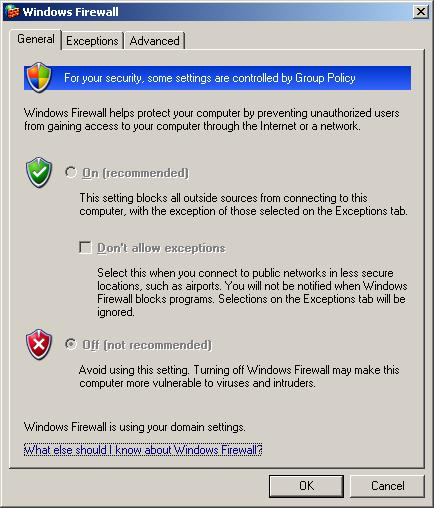 Windows firewall options greyed out by domain policy